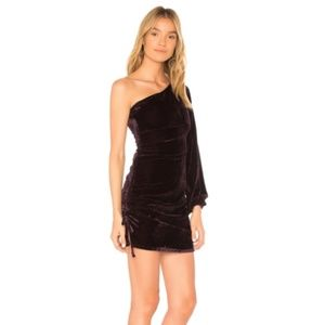 Tularosa Dresses - Tularosa Velvet Mini Dress One Shoulder